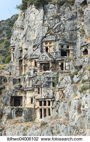 "Stock Photo of ""Lycian rock tombs, necropolis, ancient city of."