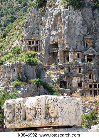Stock Photo of Lycian tombs in Demre, Turkey k3845992.
