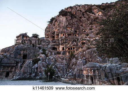 Stock Photograph of Ancient Myra rock tomb at Turkey Demre.