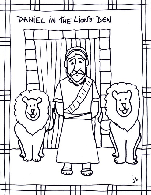 Daniel in Lions Den clip art/ coloring sheet.
