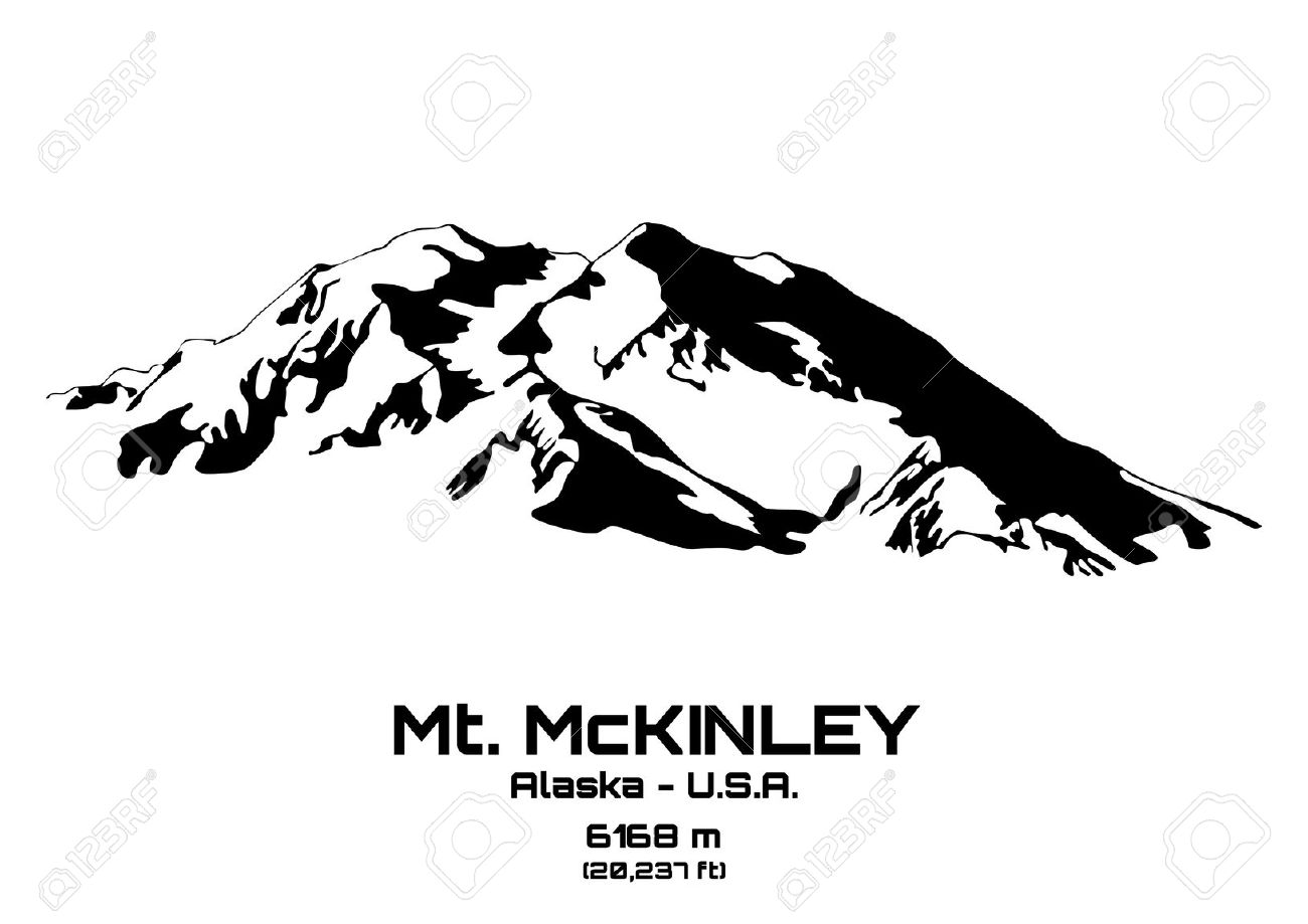 Outline Illustration Of Mt. McKinley (6168 M) Royalty Free.