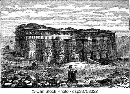 Vector Illustration of Temple of Hathor in Dendera, Egypt, vintage.