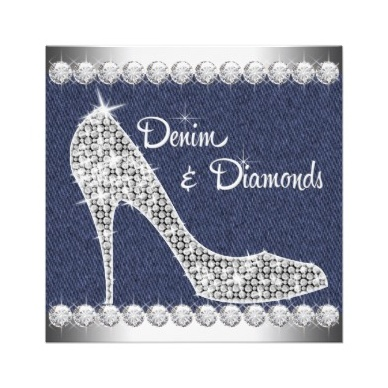 Denim and Diamonds Birthday Party Invitations.