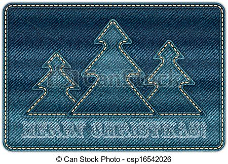 Vector Illustration of Christmas background. Denim background.