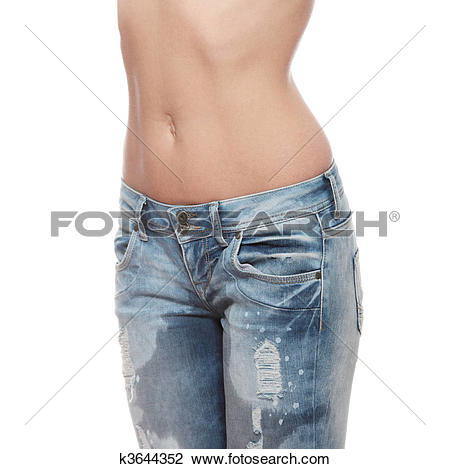 Stock Photo of Young woman body in jeans k3644352.