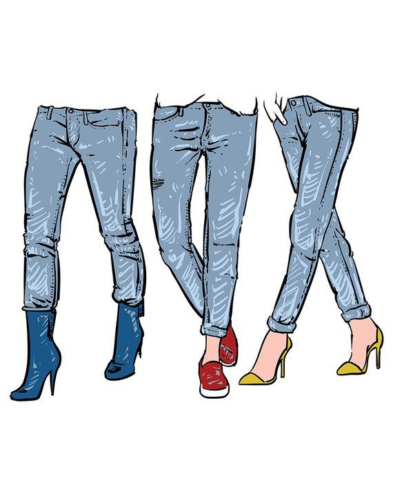 Drawing women's fashionable jeans. clipart commercial use, vector.