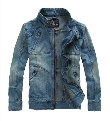 Mens Denim Jean Jacket with Removable Hood.