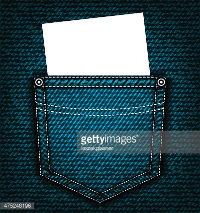 Denim jeans pocket with blank piece of paper Clipart Image.
