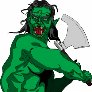 Fantacy Orc Swing Axe clipart, cliparts of Fantacy Orc Swing.