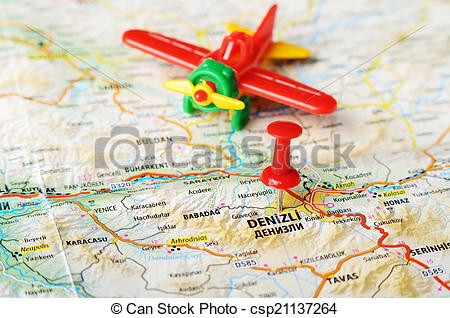 Stock Image of Denizli ,Turkey map flight.