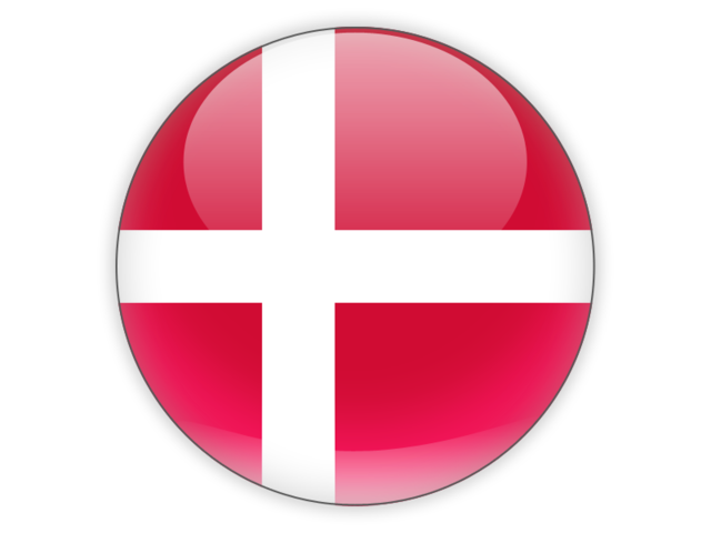 Round icon. Illustration of flag of Denmark.