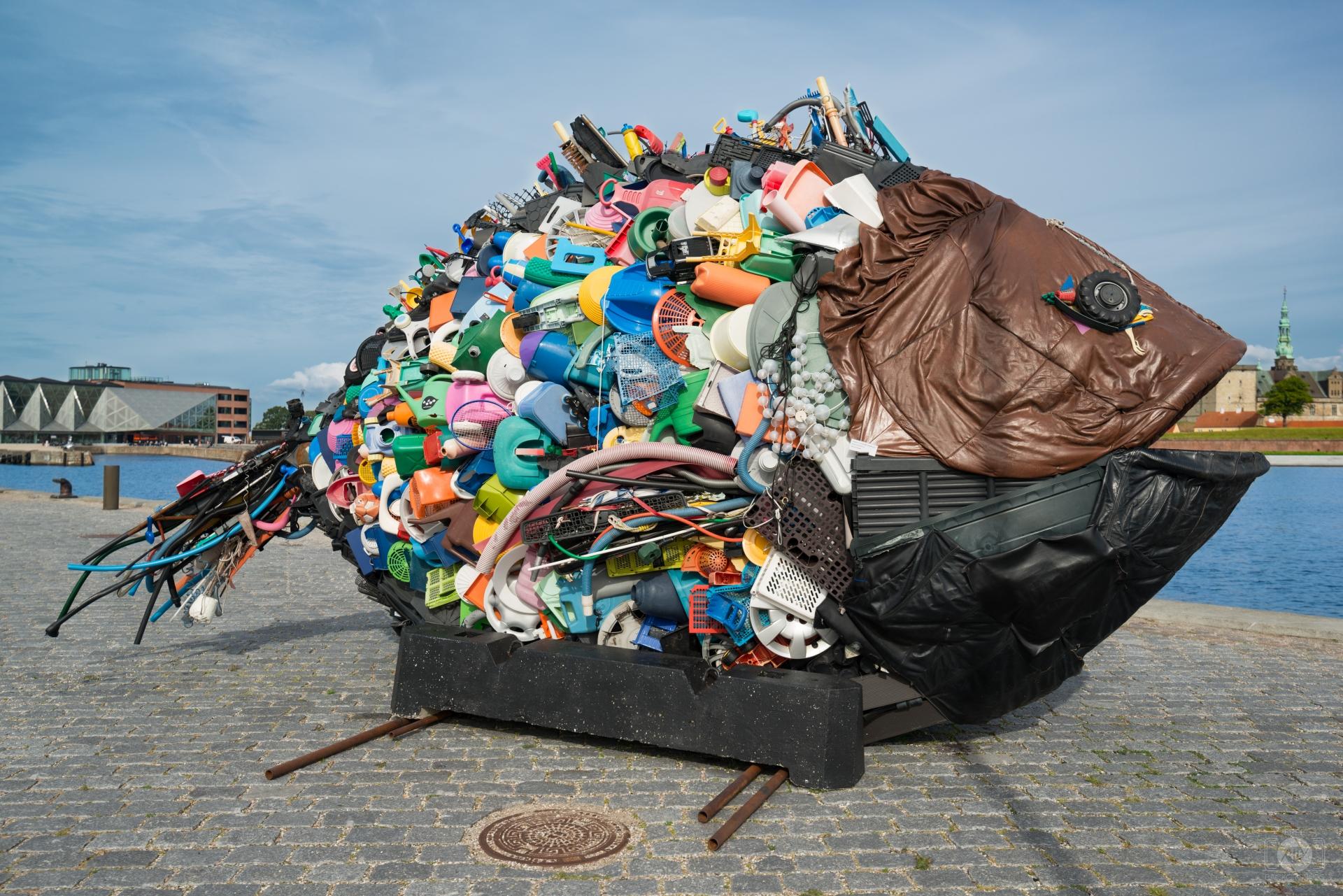 Garbage Fish Eats Kronborg Castle Helsingor Denmark.