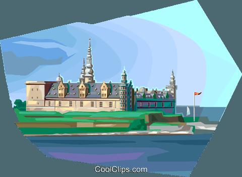 Denmark\'s Kronborg Castle Royalty Free Vector Clip Art.