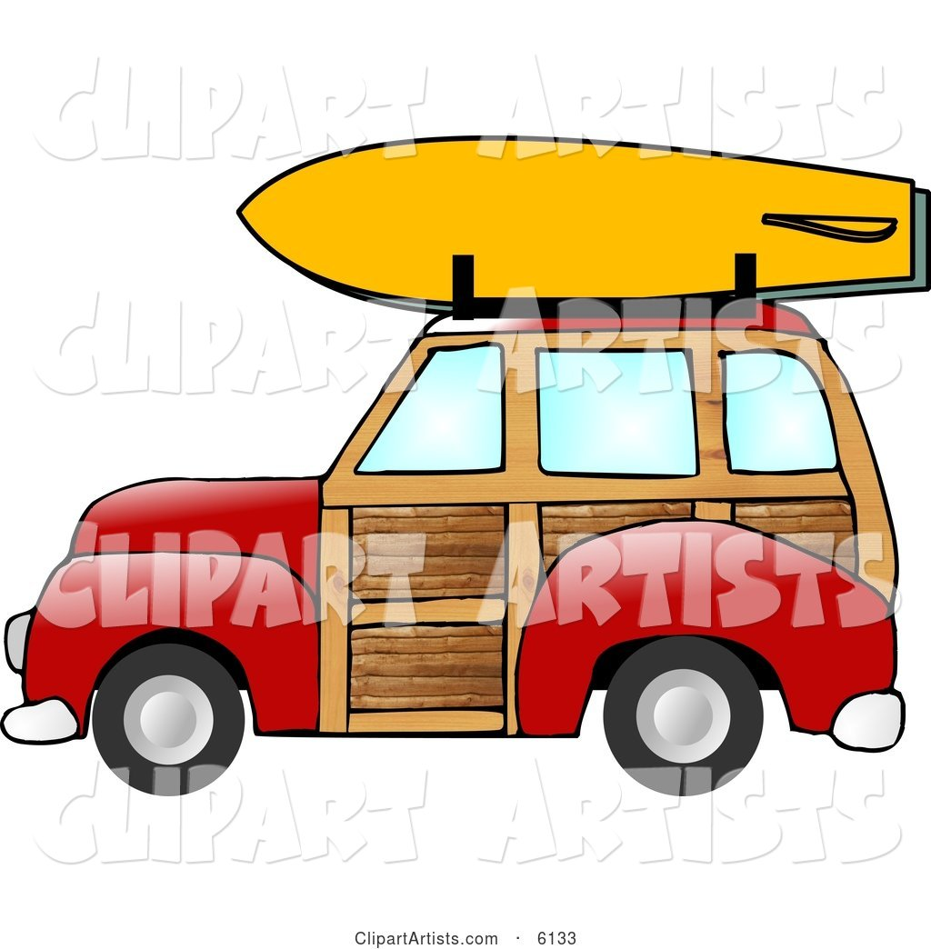 Woody Car With a Surfboard on the Roof Rack Clipart by.