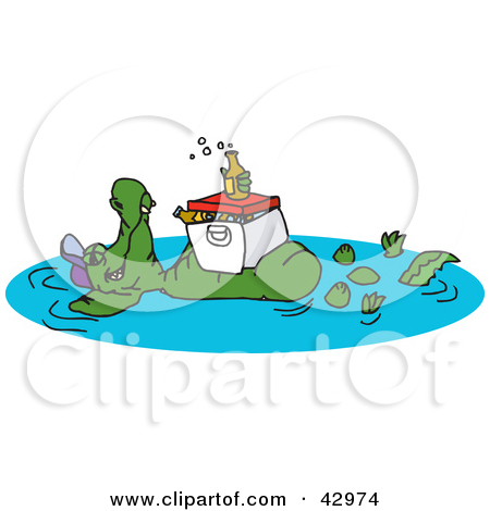 Clipart Illustration of a Crocodile Floating In A Pond With A.