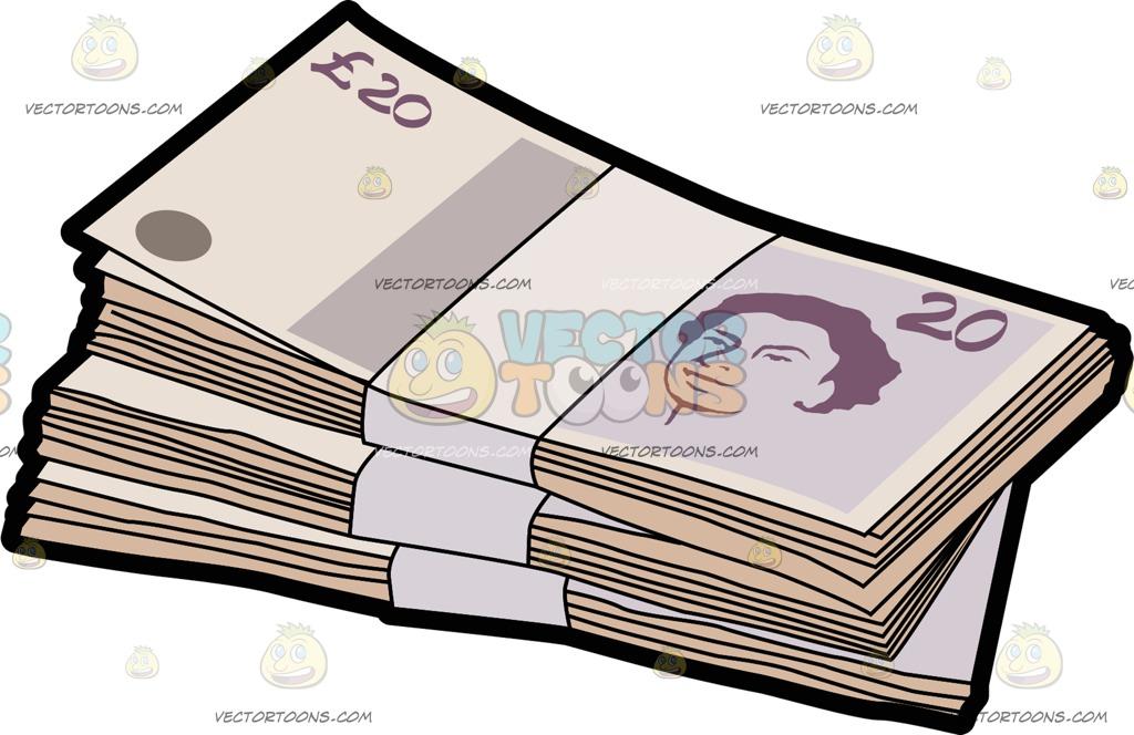 Three Bundles Of Twenty Pounds Bank Note Denomination Cartoon Clipart.