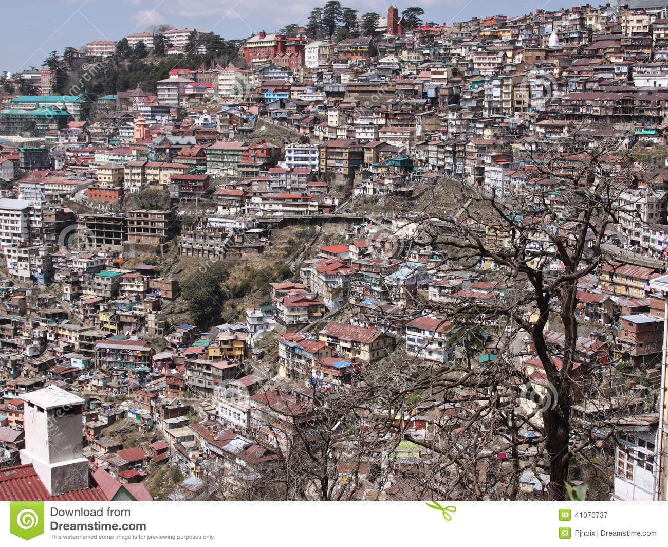Shimla Townscape Stock Photo.