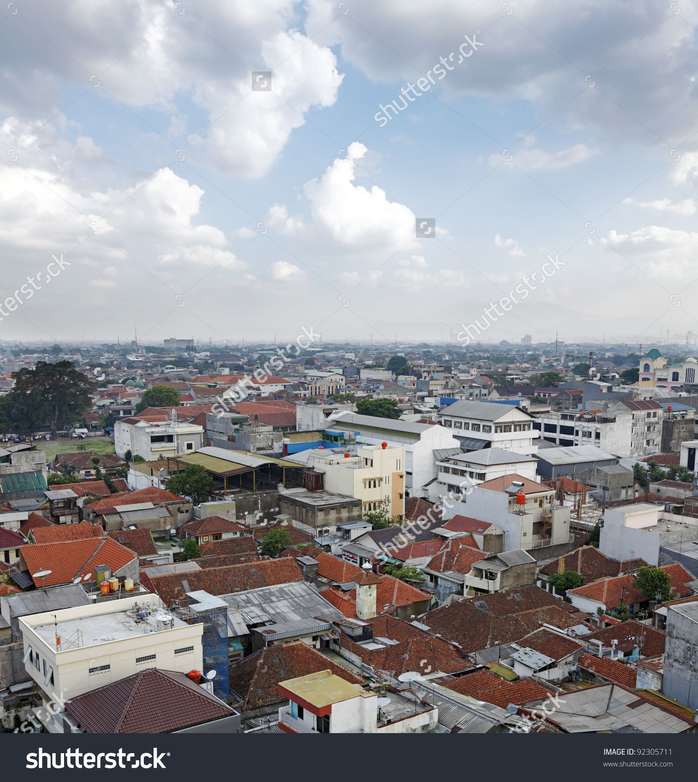 The Urban Skyline Of The Densely Populated Bandung City In Java.