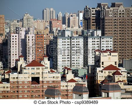 Stock Photographs of View of a Crowded City.