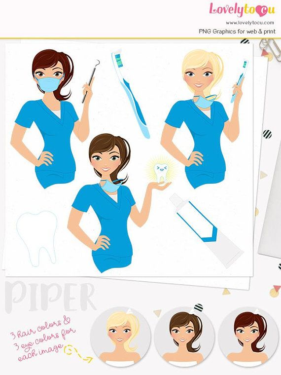 Woman dentist character clipart, dental care illustration, hygienist.