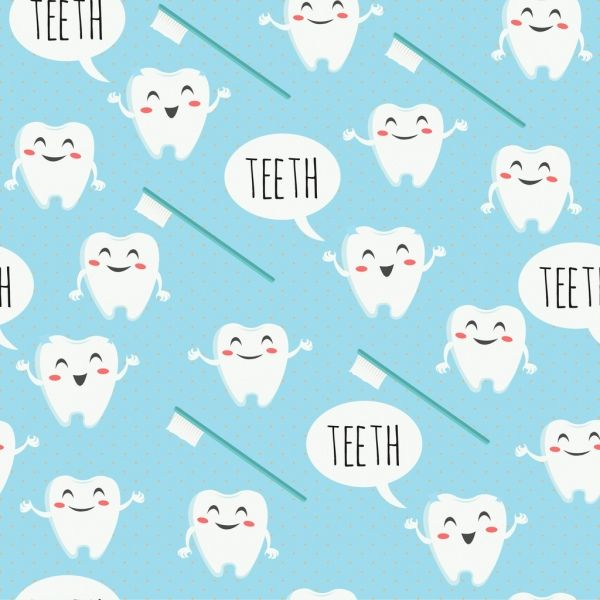 Dental background stylized tooth brush icons repeating.