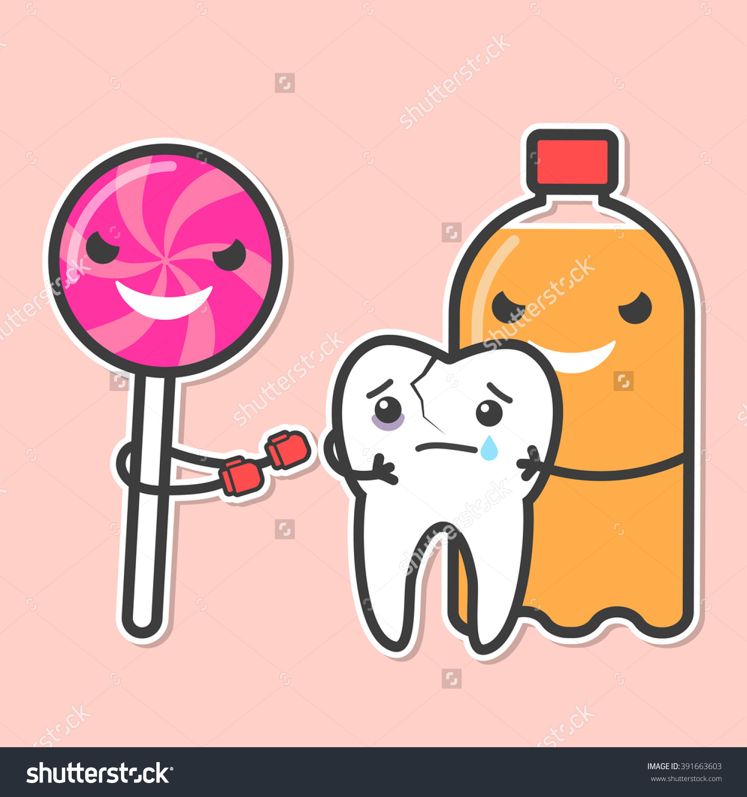 Soda Lollipop Bully Tooth Sweets Provoke Stock Vector 391663603.