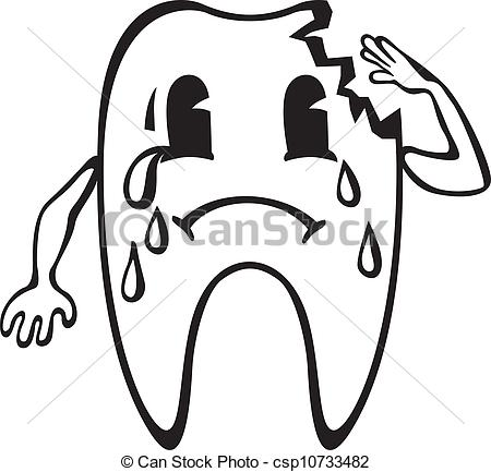 Vector of Cartoon dent with caries crying csp10733482.