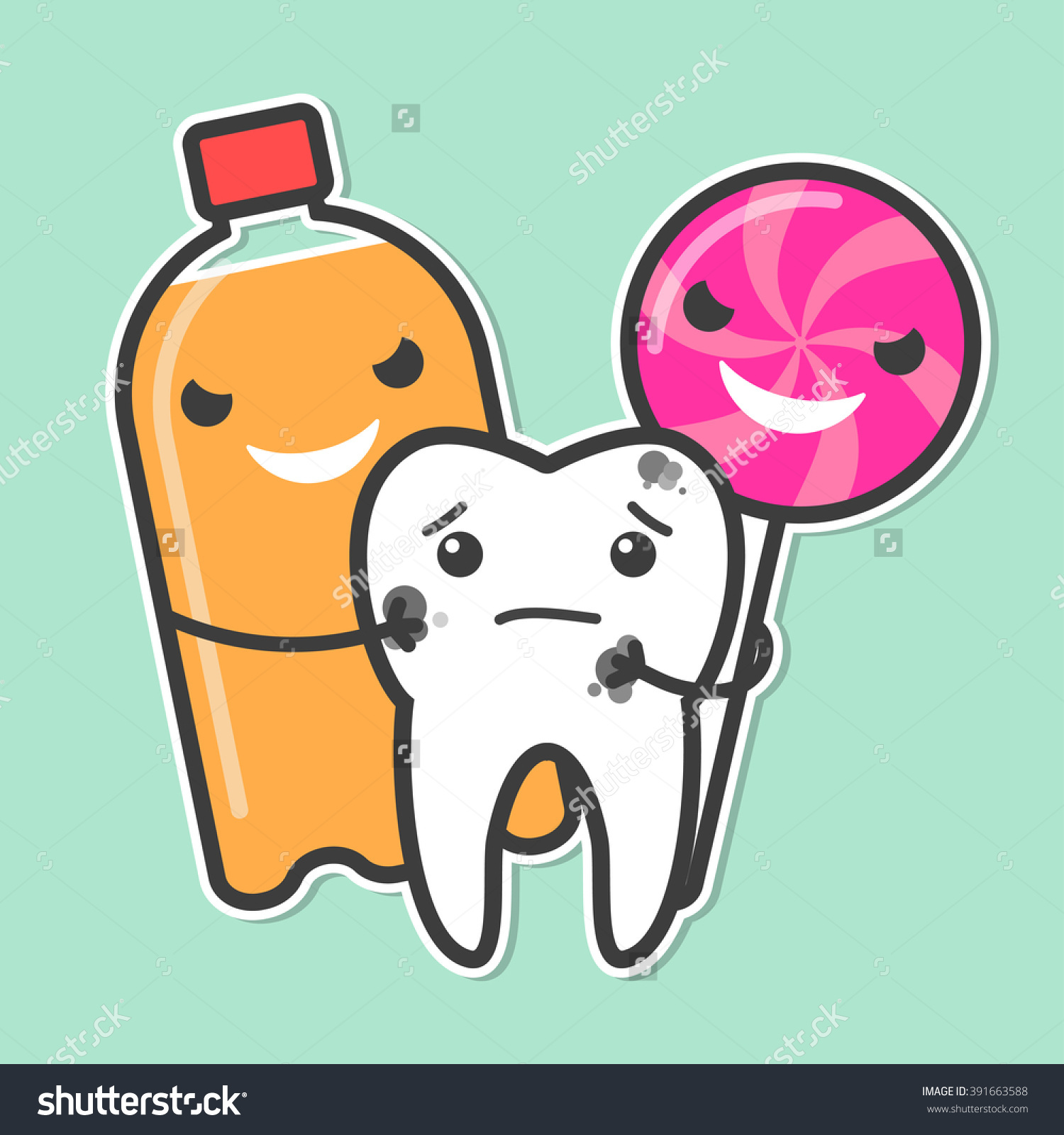 Soda Lollipop Bully Tooth Sweets Provoke Stock Vector 391663588.
