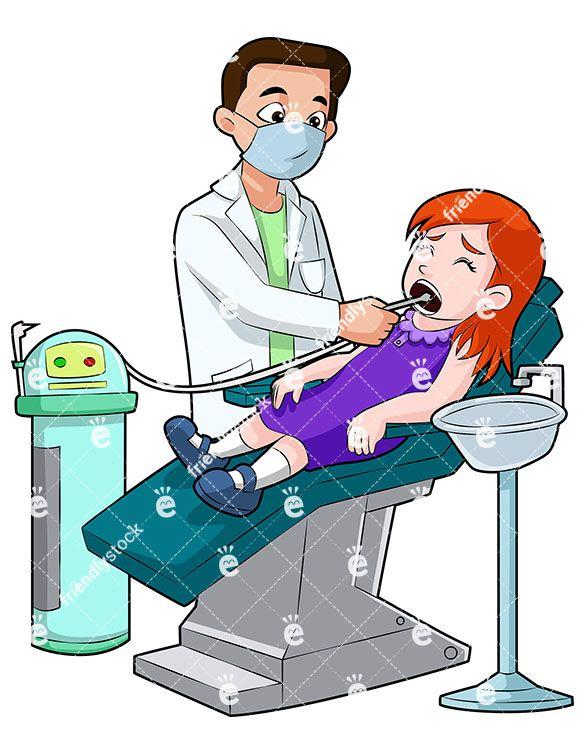 A Little Girl Lying In A Dentist Chair Getting Her Teeth.