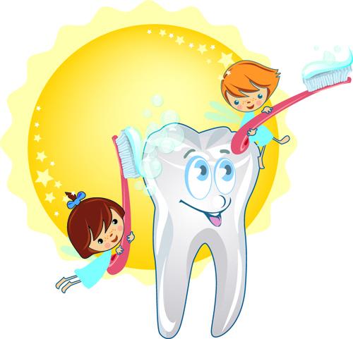 Set of dental design elements vector clipart Free vector in.