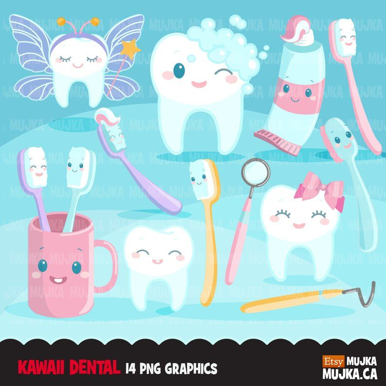 Dental Clipart. Kawaii tooth, dentist tools, toothbrush.