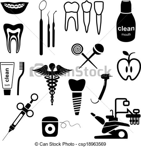 EPS Vector of dental instruments black silhouette vector.