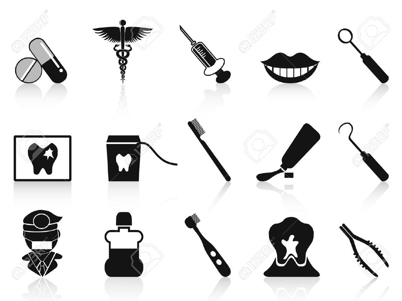 Isolated Black Dental Icons Set From White Background Royalty Free.