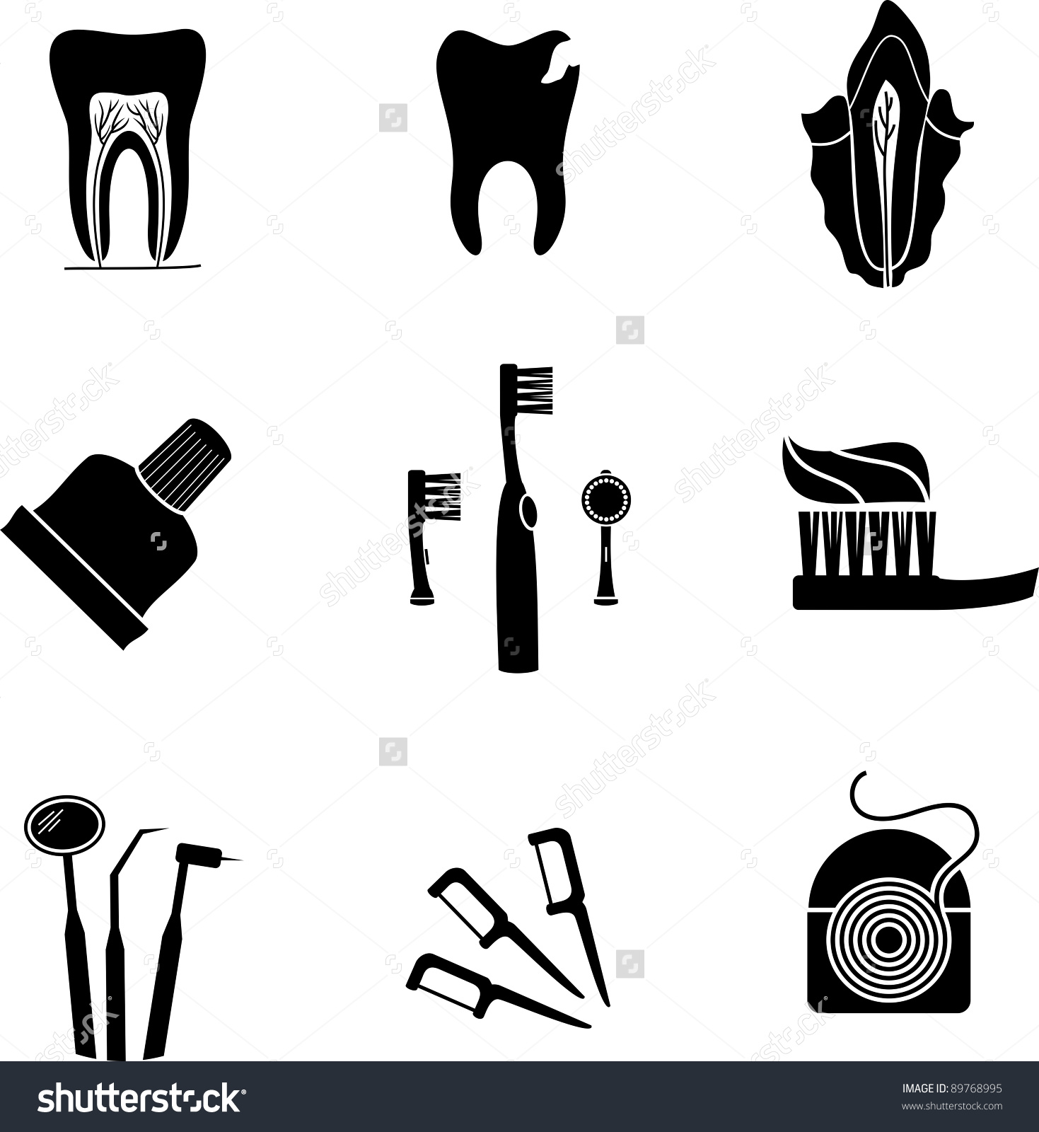 Isolated Silhouette Dental Icons Stock Vector 89768995.