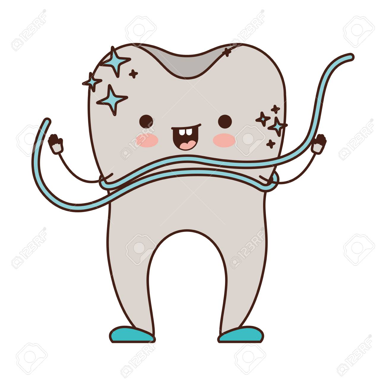 cartoon tooth with dental floss around in colorful silhouette...