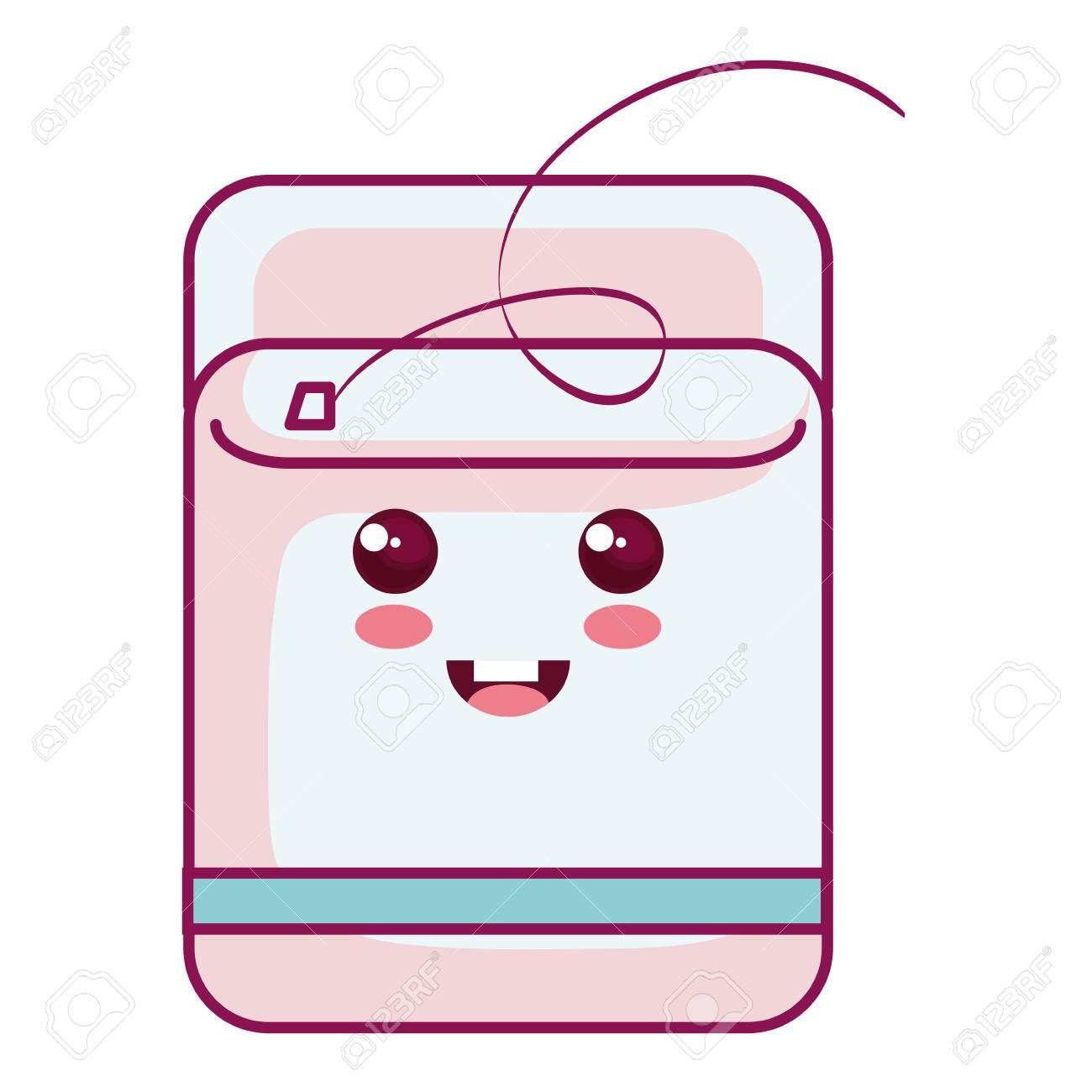 Dental Floss kawaii character vector illustration design.