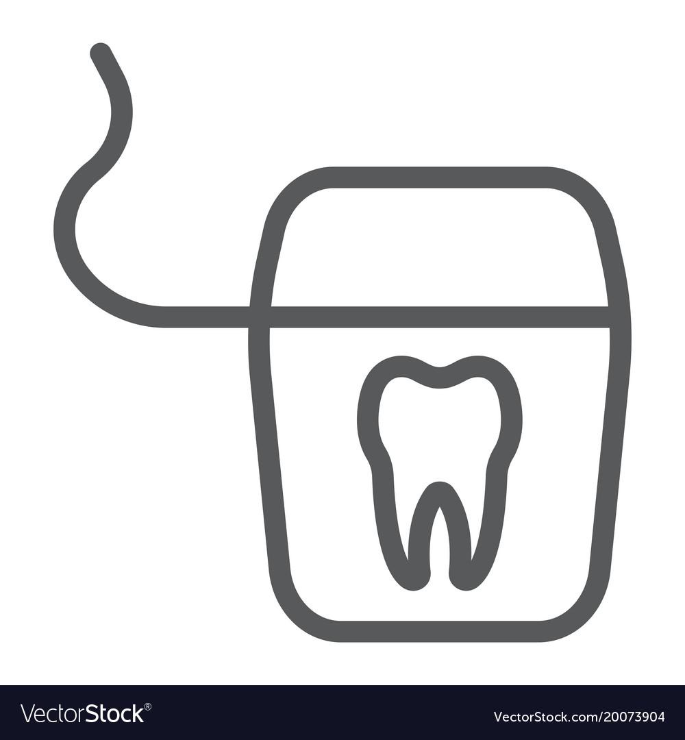 Dental floss line icon stomatology and dental.