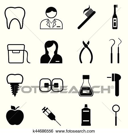 Dental health and dentist icons Clip Art.