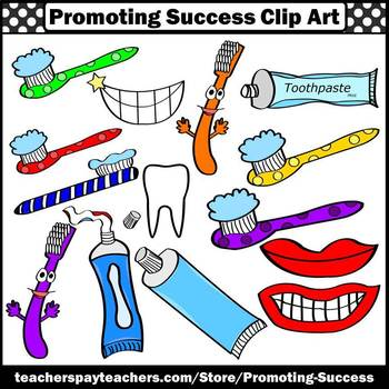 Dental Health Clipart, Toothbrush, Toothpaste, Brushing Teeth SPS.