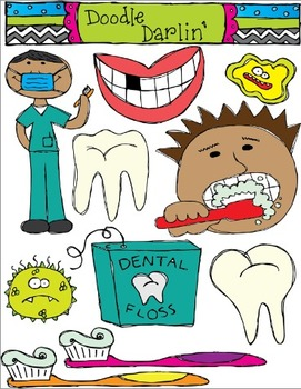 Dental Health Clipart Set.