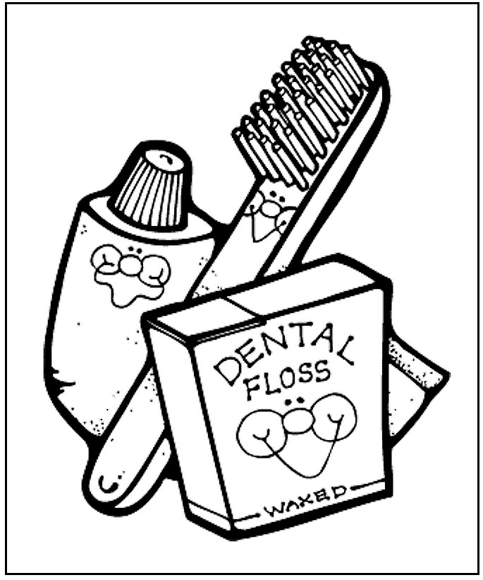 Dental Hygiene Coloring Pages For Kids Clipart 3673.