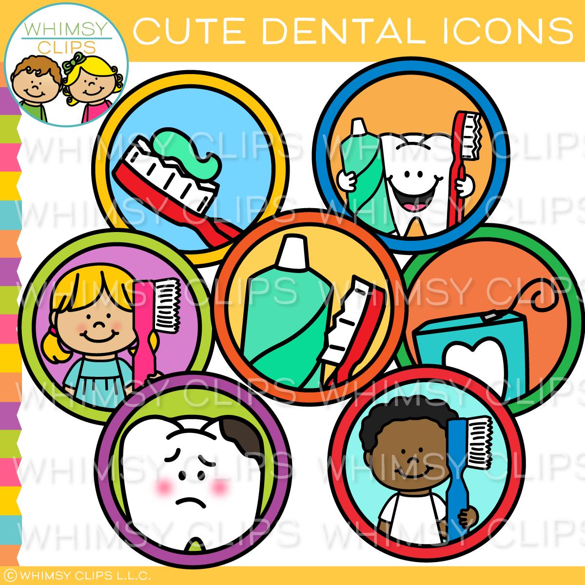 Cute Dental Icons Clip Art.
