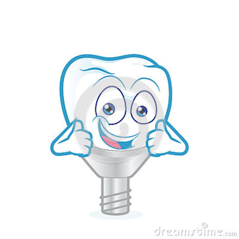 Tooth Implant Giving Two Thumbs Up Stock Vector.