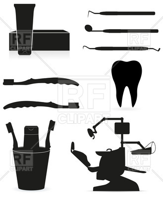 Dental instruments black silhouette Vector Image.