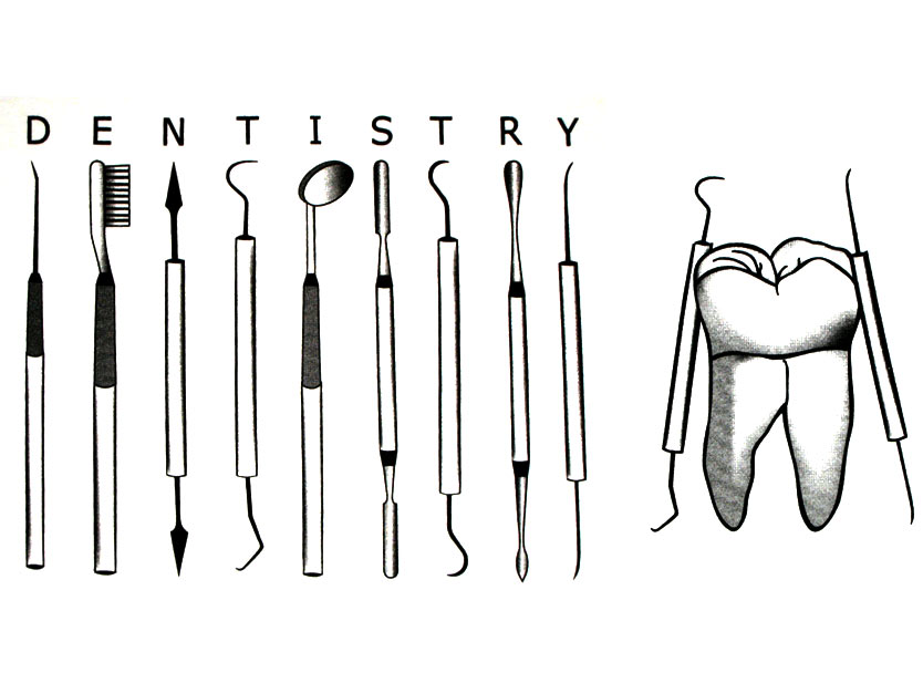 Basic Dental Instruments Tray Clipart.