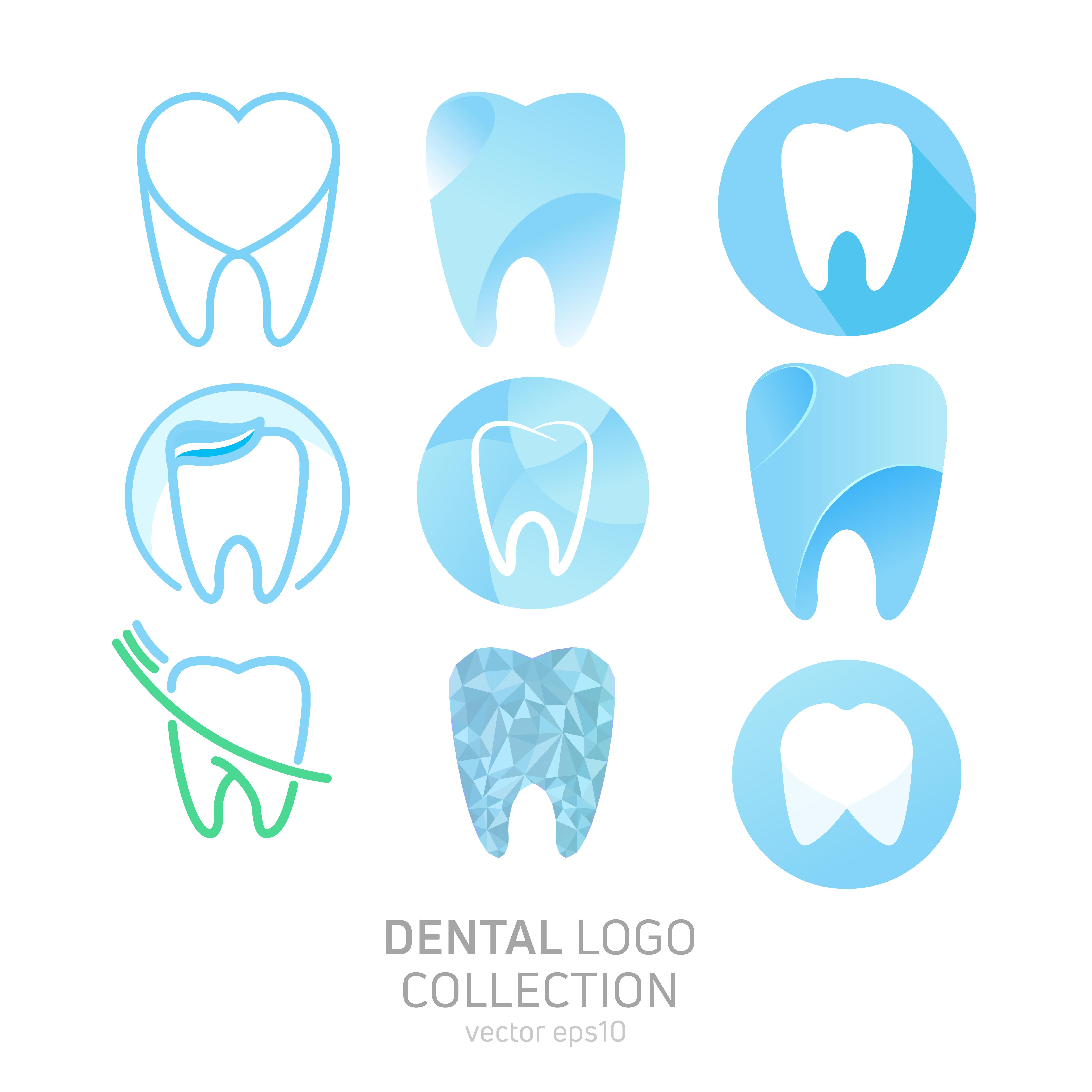 Set of Dental Clinic logo. Heals teeth icon. Dentist office.