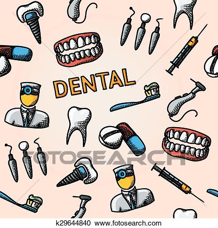Dental handdrawn pattern with.