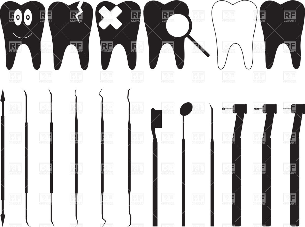 Dentistry tools and silhouette of tooth Stock Vector Image.