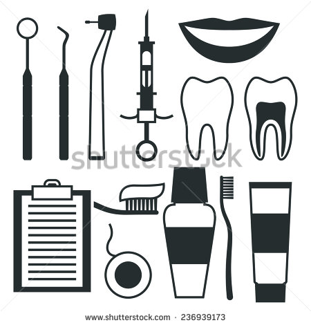 Dentist instruments clipart.