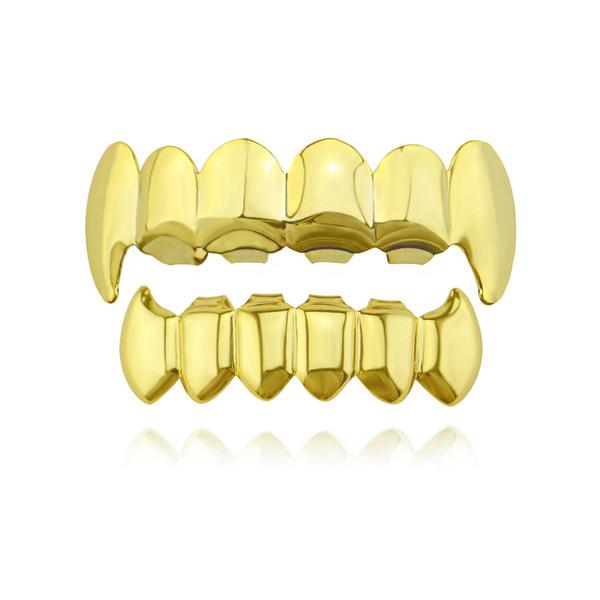 Compre Hip Hop Liso Grillz Verdadeiro Banhado A Ouro De Prata De Prata  Grades Dentárias Dentes De Tigre Rappers Legal Jóia Do Corpo De.